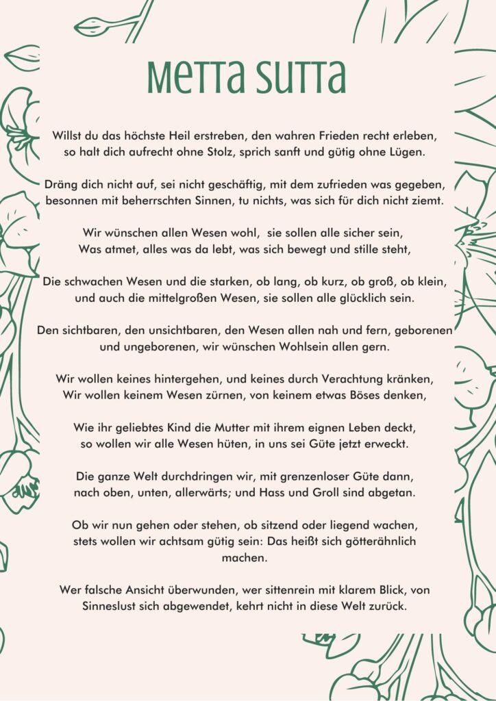 Das Metta Sutta übersetzt auf deutsch. Ein Bild zum Abspeichern und praktizieren.